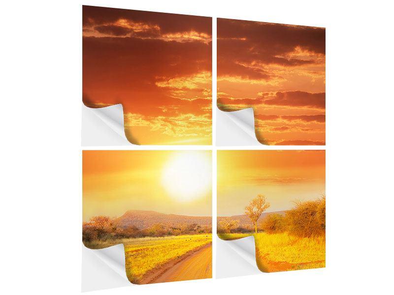 Klebeposter 4-teilig Sonnenuntergang in der Savanne