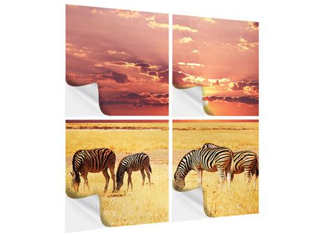 Klebeposter 4-teilig Zebras in der Savanne