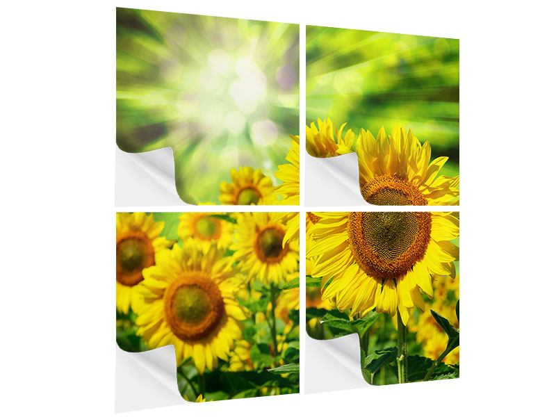 Klebeposter 4-teilig Die Sonne und die Blumen