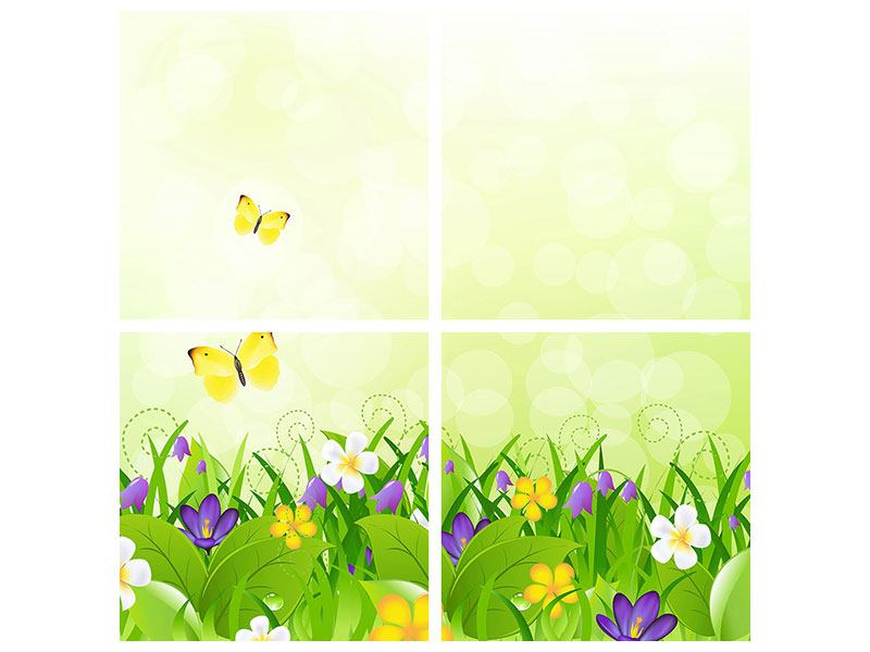 Klebeposter 4-teilig Lustige Schmetterlinge
