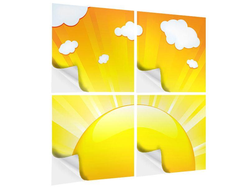 Klebeposter 4-teilig Die Sonne geht auf
