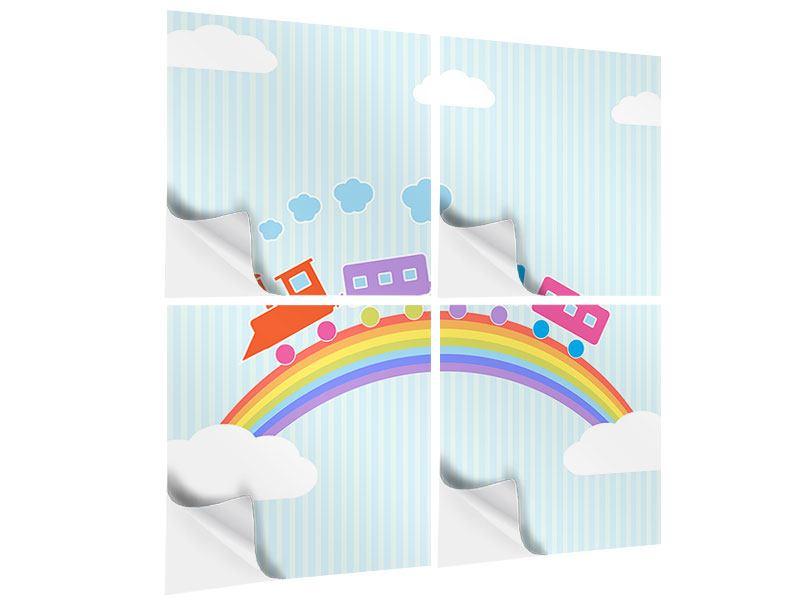 Klebeposter 4-teilig Der Regenbogenzug