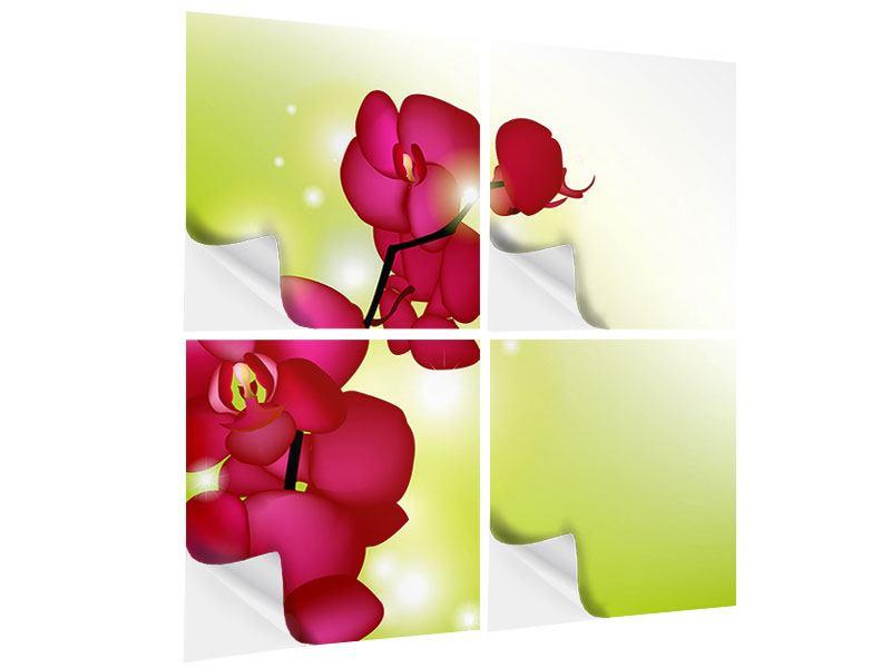 Klebeposter 4-teilig Heiligtum der Orchidee