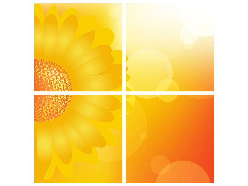 Klebeposter 4-teilig Sunflower Power