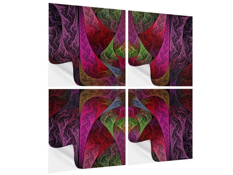 Klebeposter 4-teilig Fraktales Muster
