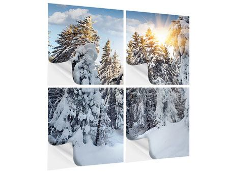 Klebeposter 4-teilig Tannen im Schnee