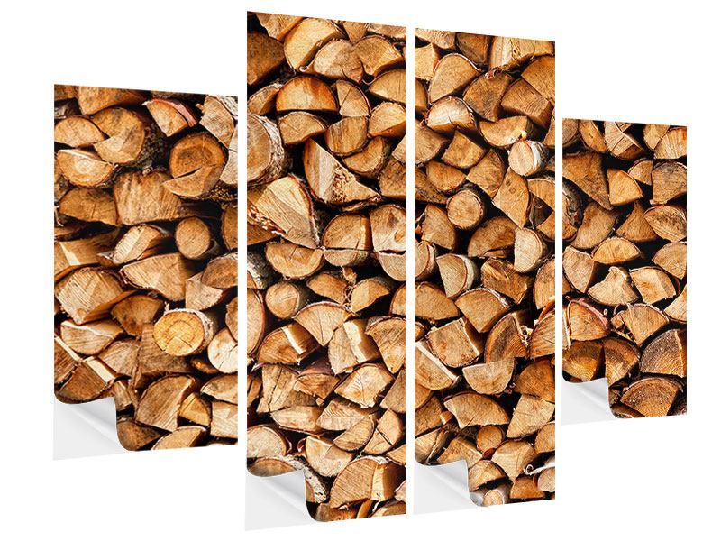 Klebeposter 4-teilig Gestapeltes Holz