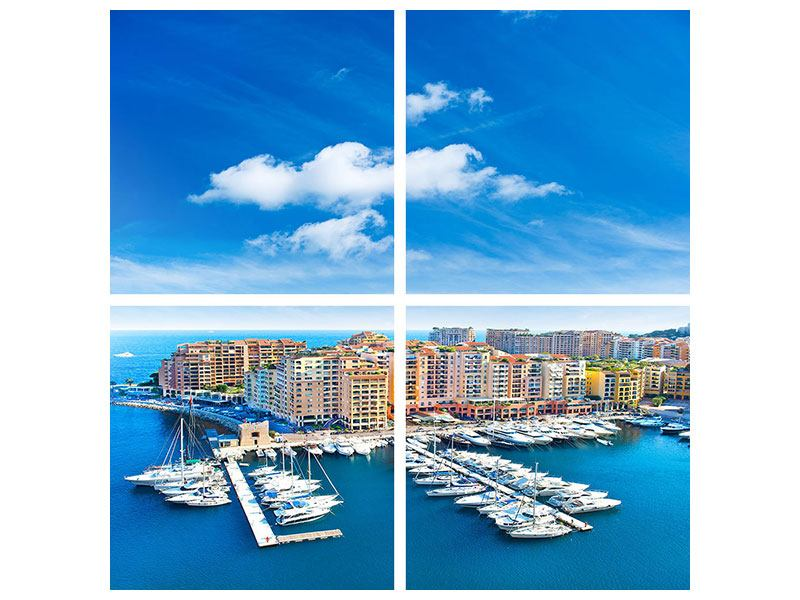 Klebeposter 4-teilig Skyline Panoramablick Jachthafen Monaco