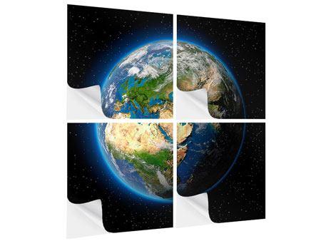 Klebeposter 4-teilig Die Erde als Planet