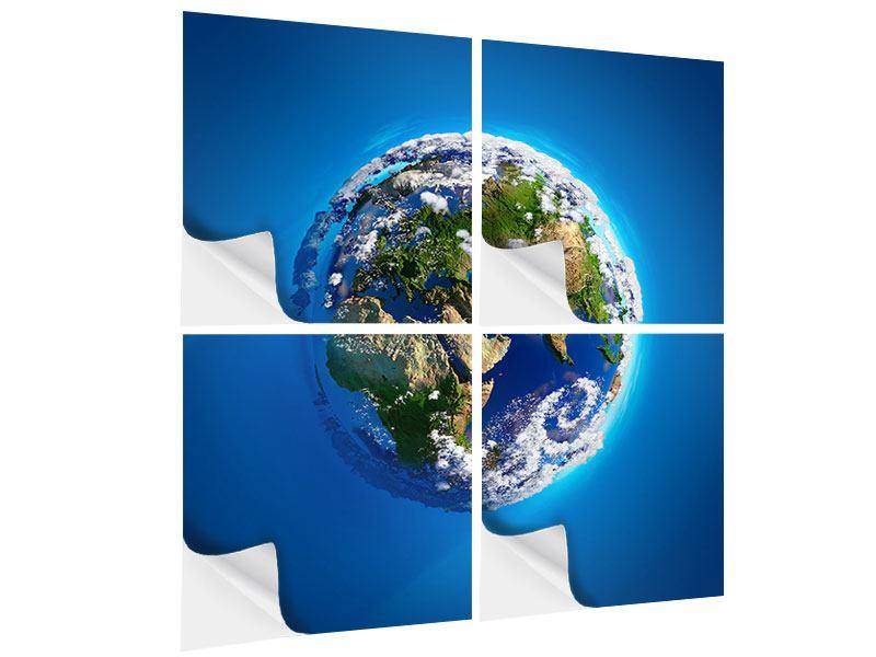 Klebeposter 4-teilig Planet Earth