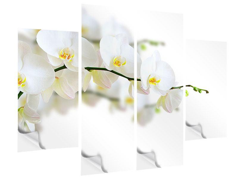 Klebeposter 4-teilig Weisse Orchideen