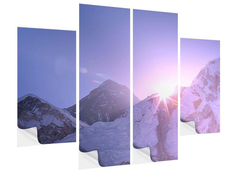 Klebeposter 4-teilig Sonnenaufgang beim Mount Everest