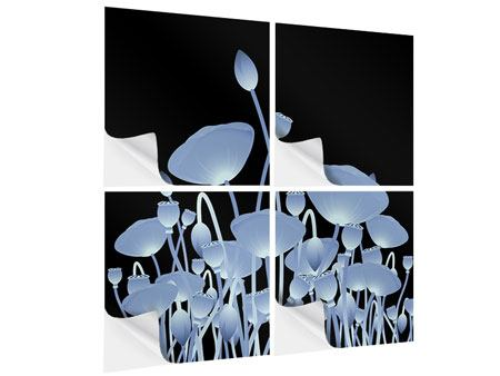 Klebeposter 4-teilig Futurische Blumen