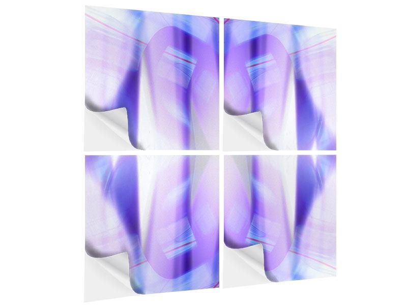 Klebeposter 4-teilig Abstrakte Sicht