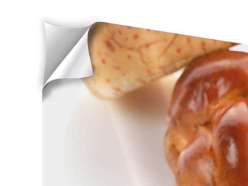 Klebeposter 4-teilig Frühstücksbrötchen