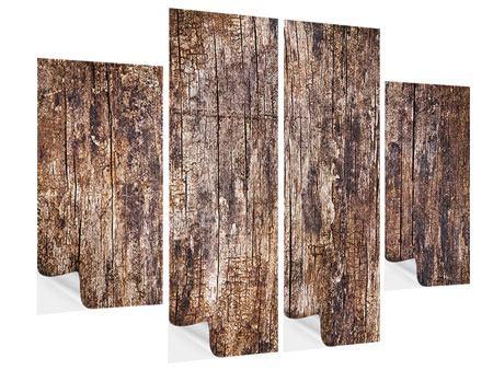 Klebeposter 4-teilig Retro-Holz