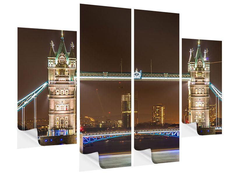 Klebeposter 4-teilig Tower Bridge bei Nacht