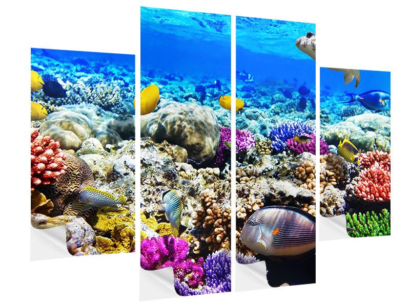 Klebeposter 4-teilig Fischaquarium