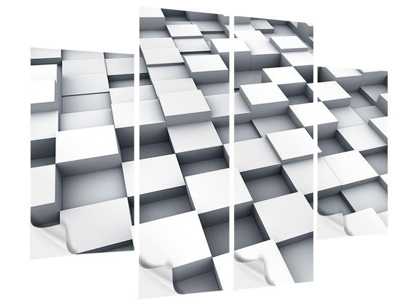 Klebeposter 4-teilig 3D-Kubus
