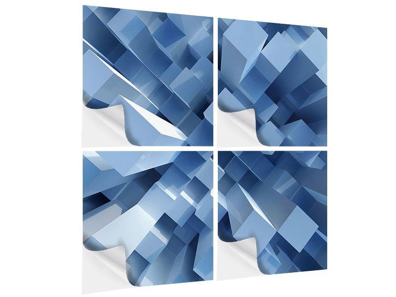 Klebeposter 4-teilig 3D-Säulen