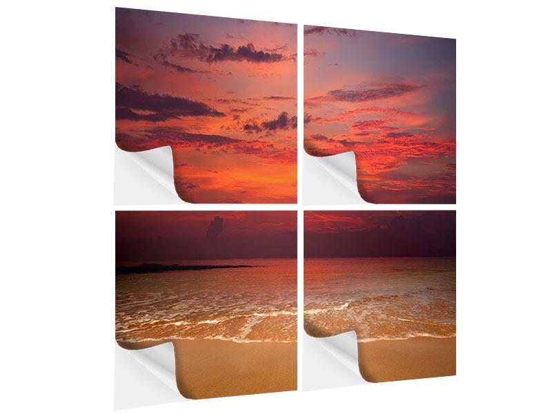 Klebeposter 4-teilig Zeile auf den Sand