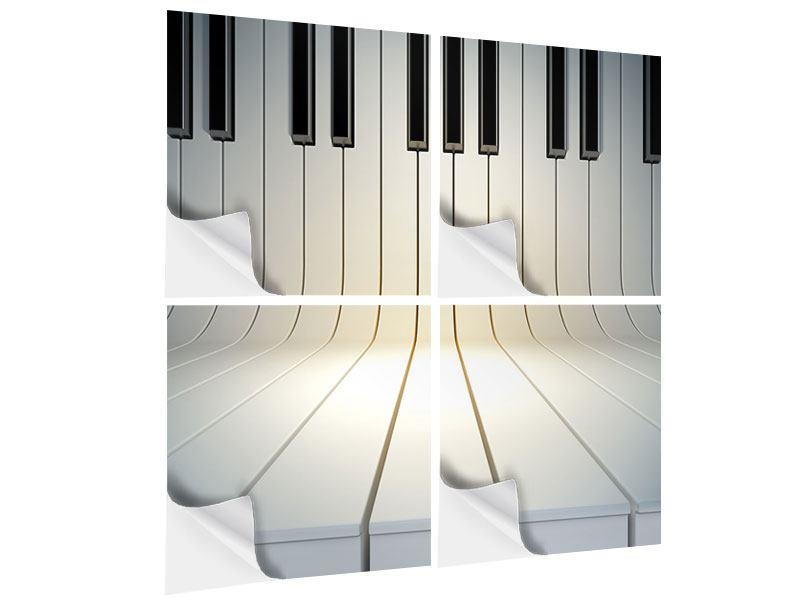 Klebeposter 4-teilig Klaviertasten
