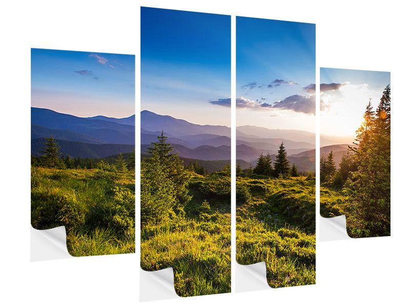 Klebeposter 4-teilig Friedliche Landschaft
