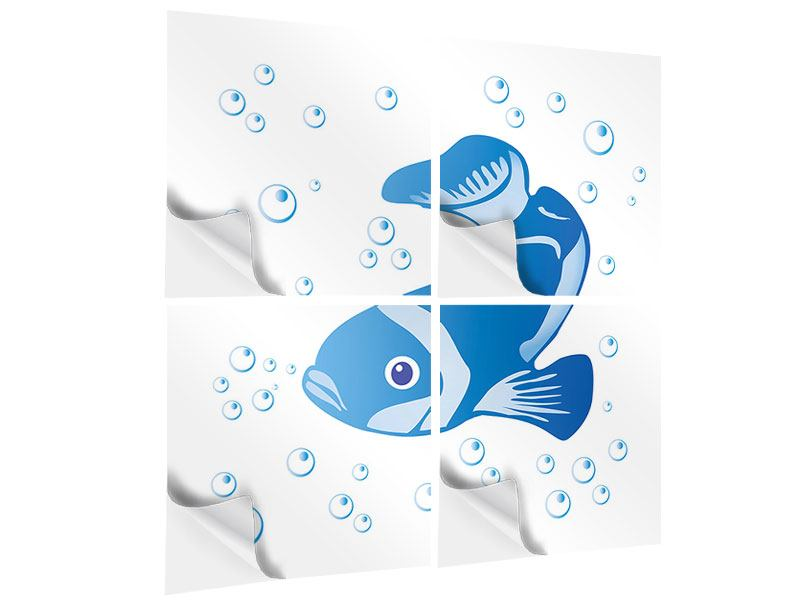 Klebeposter 4-teilig Fischi