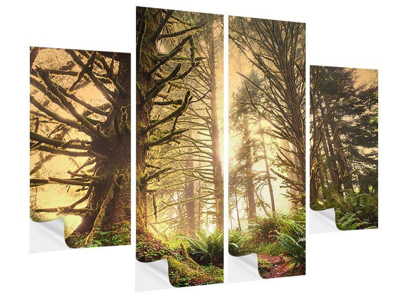 Klebeposter 4-teilig Sonnenuntergang im Dschungel