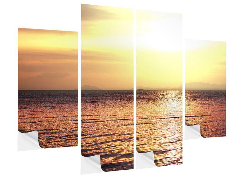 Klebeposter 4-teilig Sonnenuntergang an der See