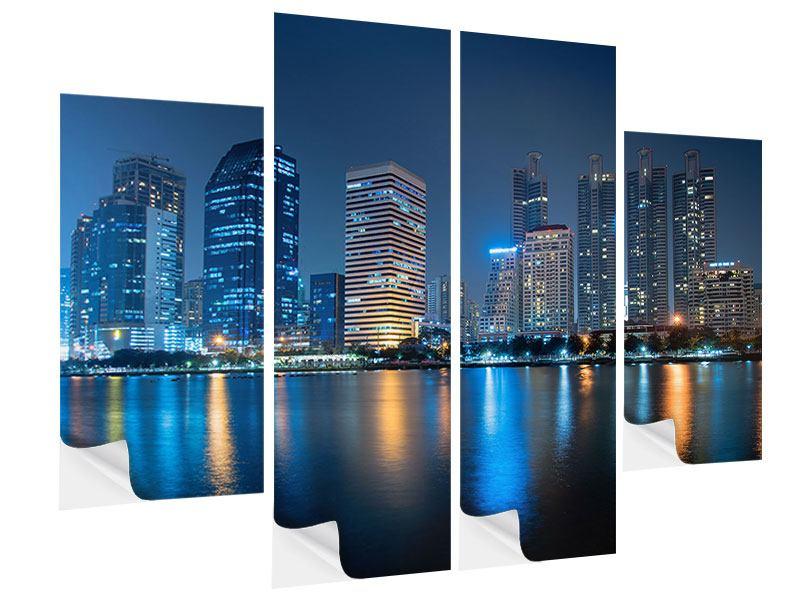 Klebeposter 4-teilig Skyline Bangkok bei Nacht