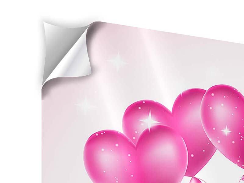 Klebeposter 4-teilig Herzballons