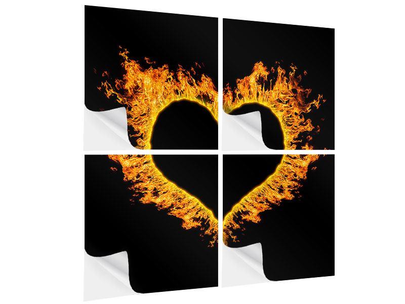 Klebeposter 4-teilig Herzflamme