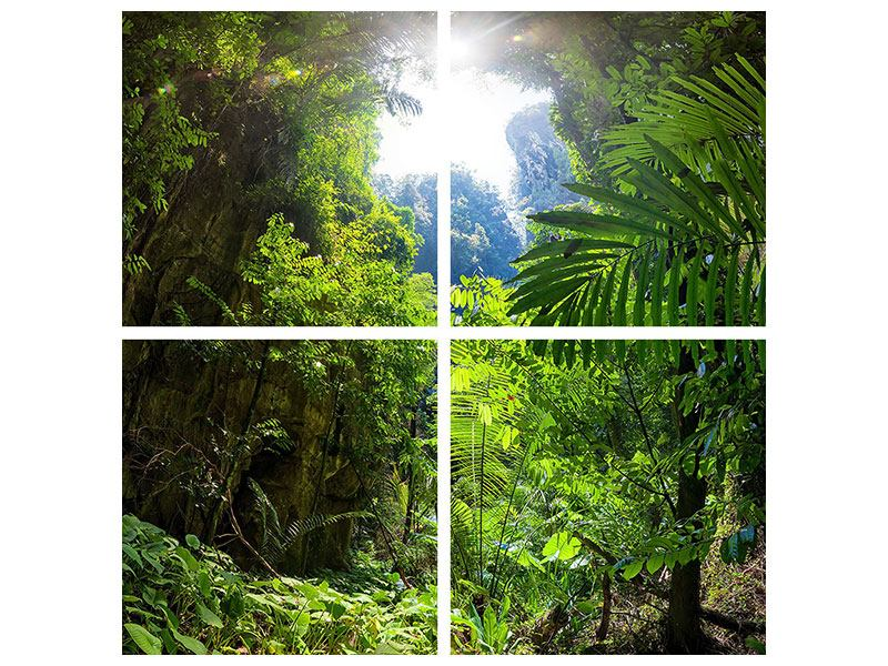 Klebeposter 4-teilig Lichtung im Dschungel