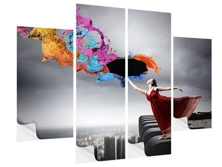 Klebeposter 4-teilig Tanz auf dem Wolkenkratzer