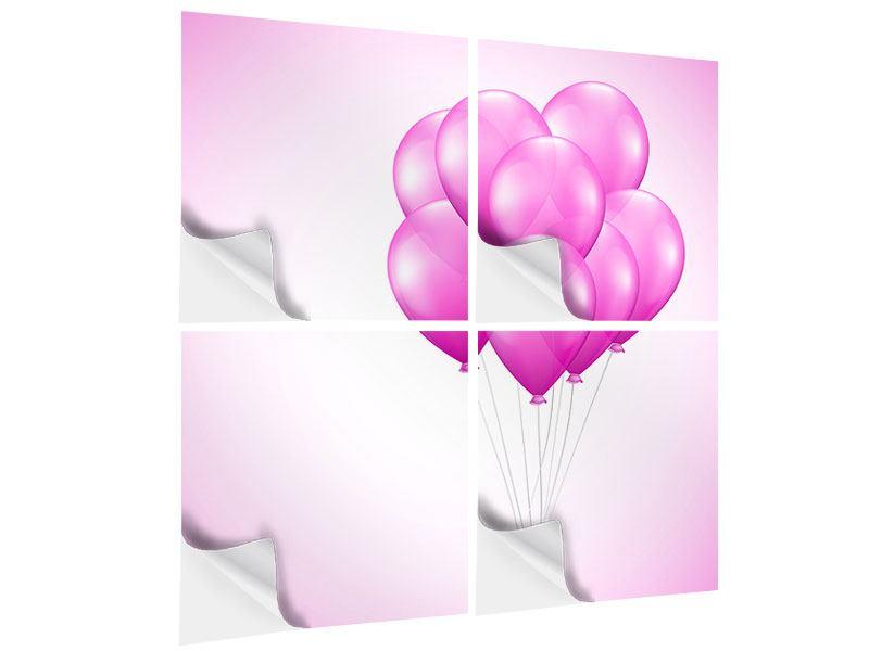 Klebeposter 4-teilig Rosarote Luftballons