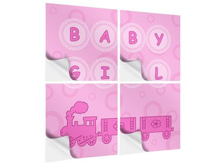 Klebeposter 4-teilig Baby-Girl