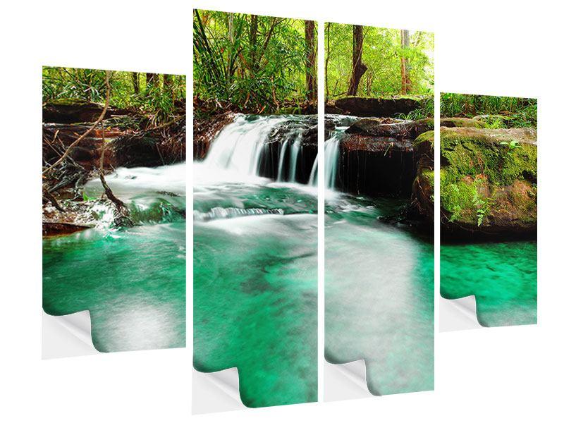 Klebeposter 4-teilig Der Fluss am Wasserfall