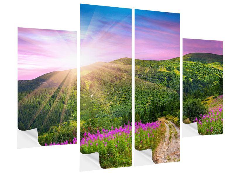 Klebeposter 4-teilig Eine Sommerlandschaft bei Sonnenaufgang