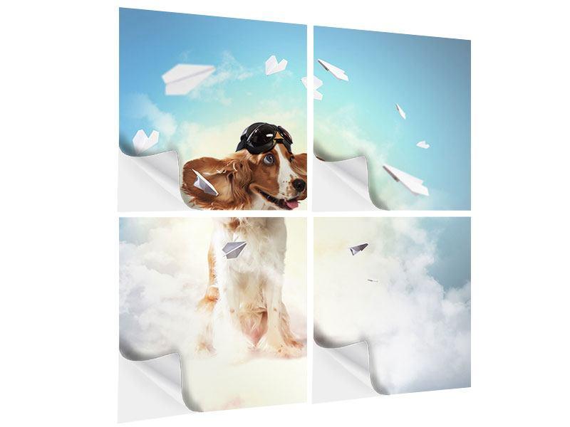 Klebeposter 4-teilig Flying Dog