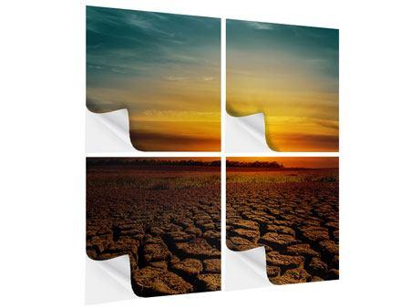 Klebeposter 4-teilig Afrikas Dürre