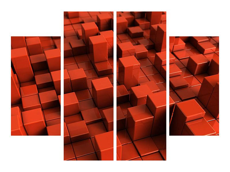 Klebeposter 4-teilig 3D-Rechtkant