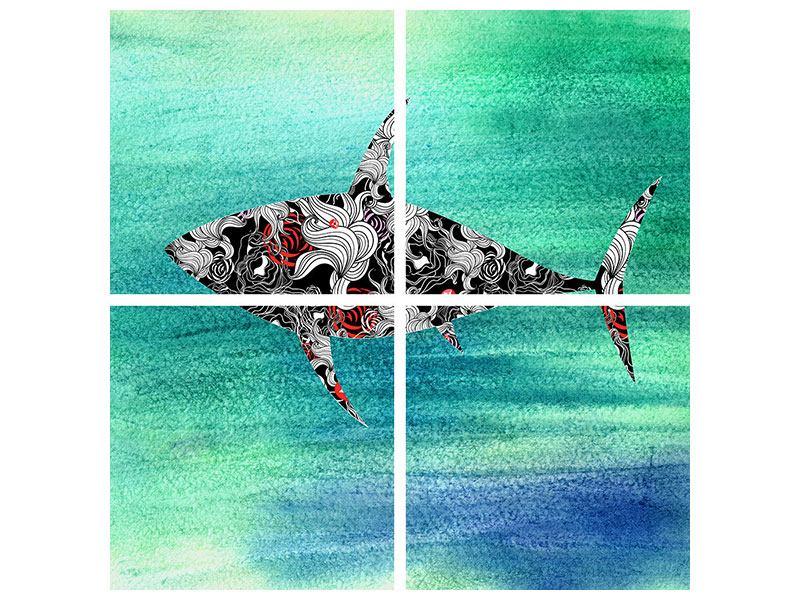 Klebeposter 4-teilig Haifisch-Ornament