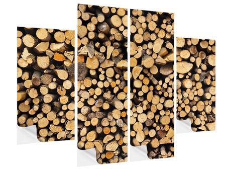 Klebeposter 4-teilig Brennholz