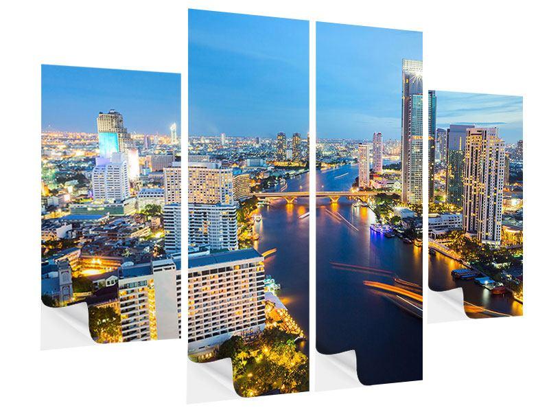Klebeposter 4-teilig Skyline Bangkok bei Sonnenuntergang