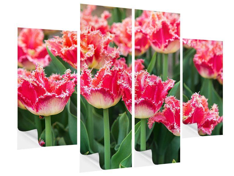 Klebeposter 4-teilig Die Tulpenwiese