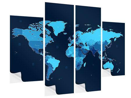 Klebeposter 4-teilig Weltkarte