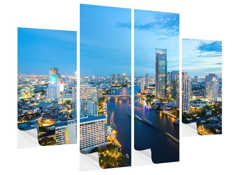 Klebeposter 4-teilig Skyline Bangkok in der Abenddämmerung