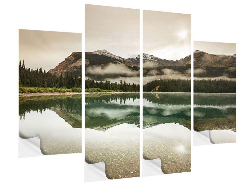 Klebeposter 4-teilig Spiegelung im Glacier Nationalpark
