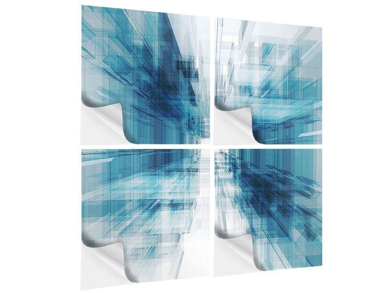 Klebeposter 4-teilig Abstrakte Raumerweiterung